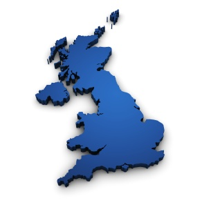 Great Britain design with 3d shape of United Kingdom map colored in blue and isolated on white background.
